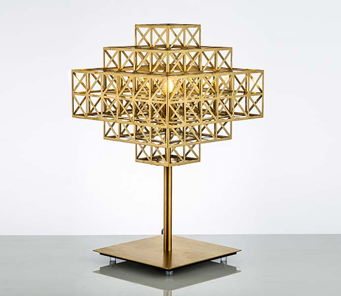 Creative Gold Cage Table Lamp with Stainless Steel