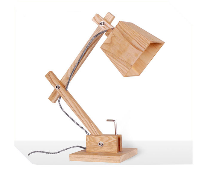 Hot Sale Table Lamp with Wood Lampshade