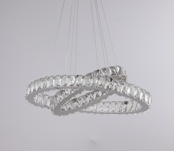 2 Rings Crystal Hanging Light for Living Room