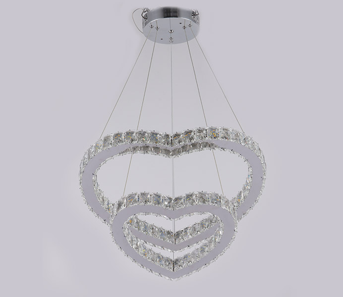 Modern K9 Crystal Hanging Light with Heart Shade