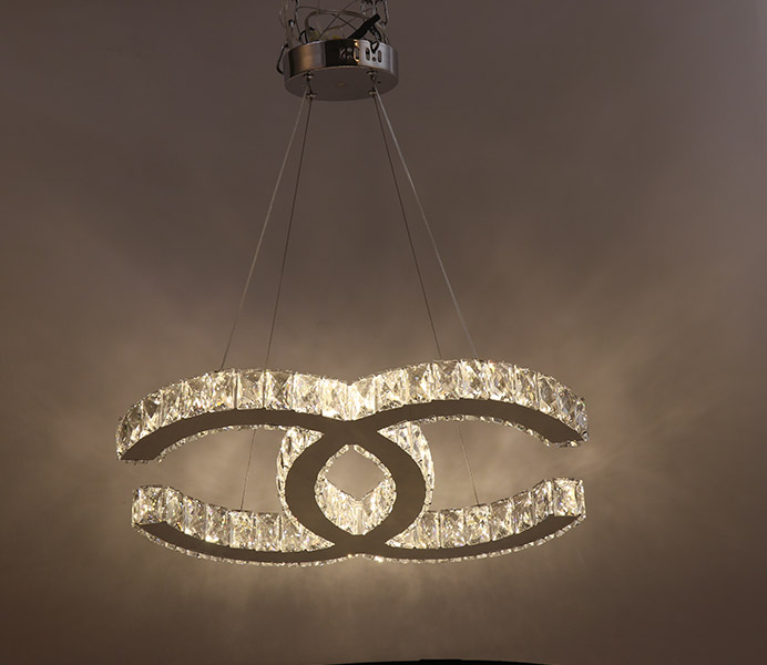 Creative modern k9 crystal chandelier light with 2 rings aloadofball Images