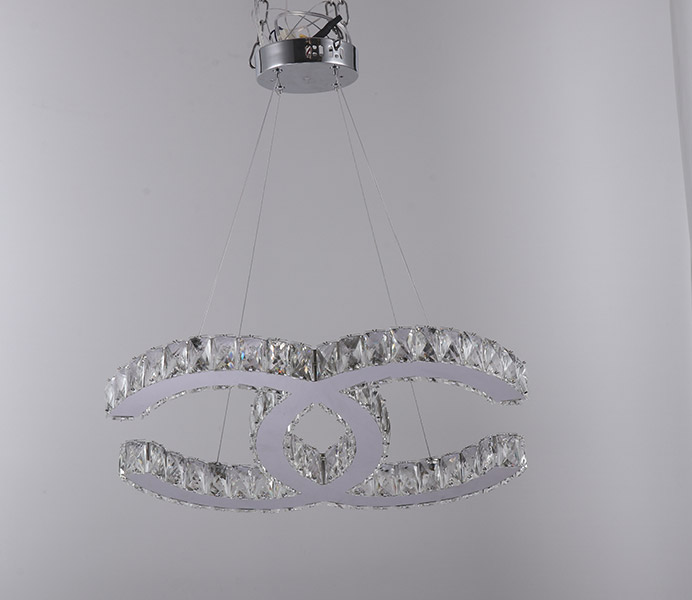 Creative Modern K9 Crystal Chandelier Light with 2 Rings