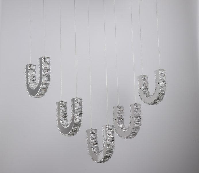 LED K9 Modern Crystal Hanging Light with U Shade