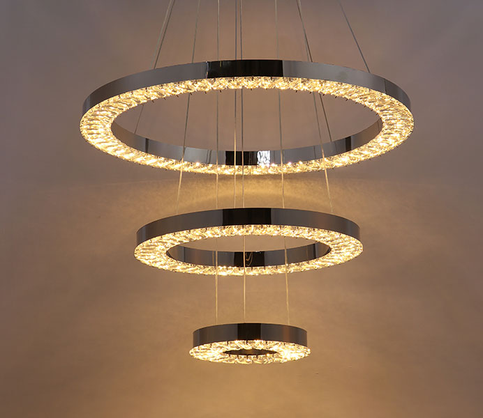 Stainless Steel Contemporary Hanging Pendant Lamp with 3 Rings