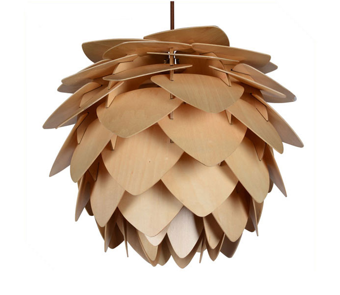 Classic Wooden Pendant Light with Pinecone
