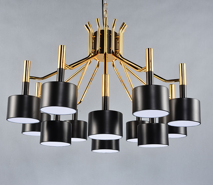 Black/White Iron Lampshade Design Chandelier with 12 Heads