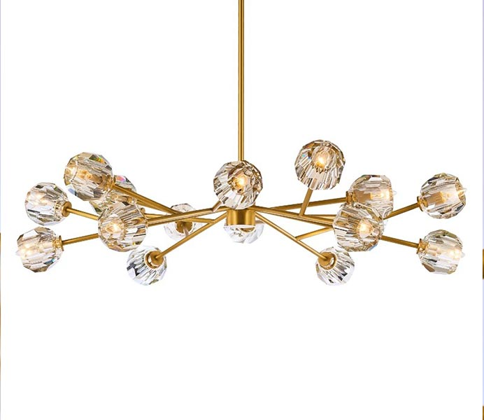Luxury Gold Chandelier Hanging Light with K9 Crystal