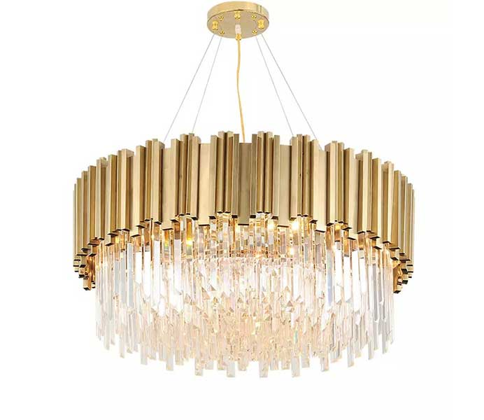 Gold Color Luxury Chandelier Hanging Light with Glass