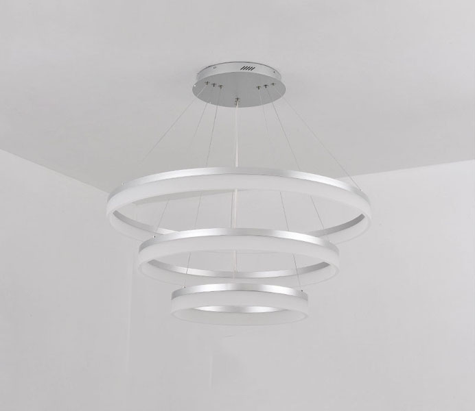 Modern Hanging 3 Rings Round Acrylic led Light Fixture for Kitchen