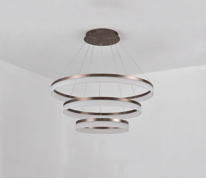Rose Gold Acrylic LED Pendant Light with 2 Rings