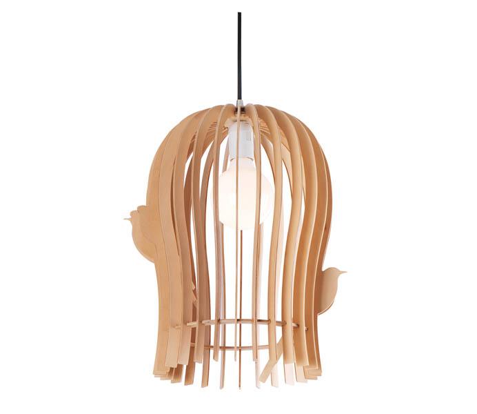 Lightingbird Ply Wood Pendant Lamp with Birdcage Shade
