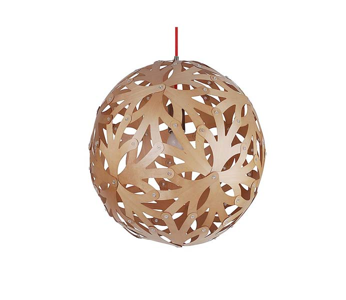 Lightingbird Beautiful Decorative Wooden Pendant Light with Coral Shade