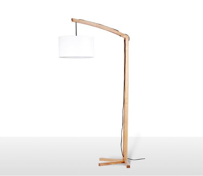 Duck Wooden Floor Lamp with White Lampshade