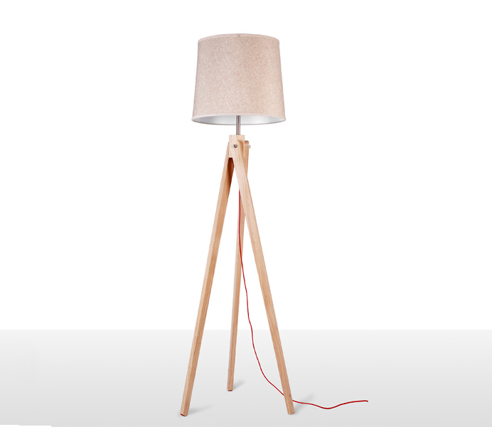 Wood Tripod Floor Lamp with E27
