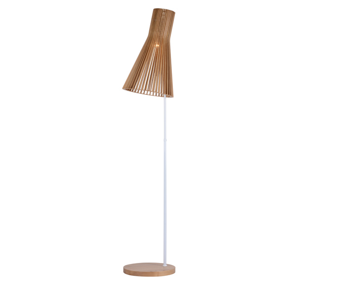 Hot Sale Modern Floor Lamp with Wood Lampshade