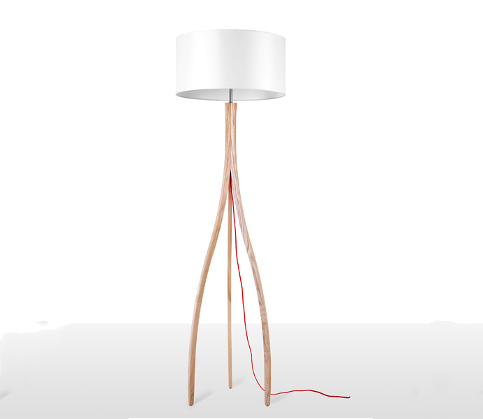 Bent Tripod Timber Floor Lamp with White Lampshade