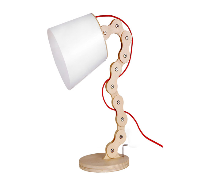 Wood Chain Table Lamp with White Lampshade
