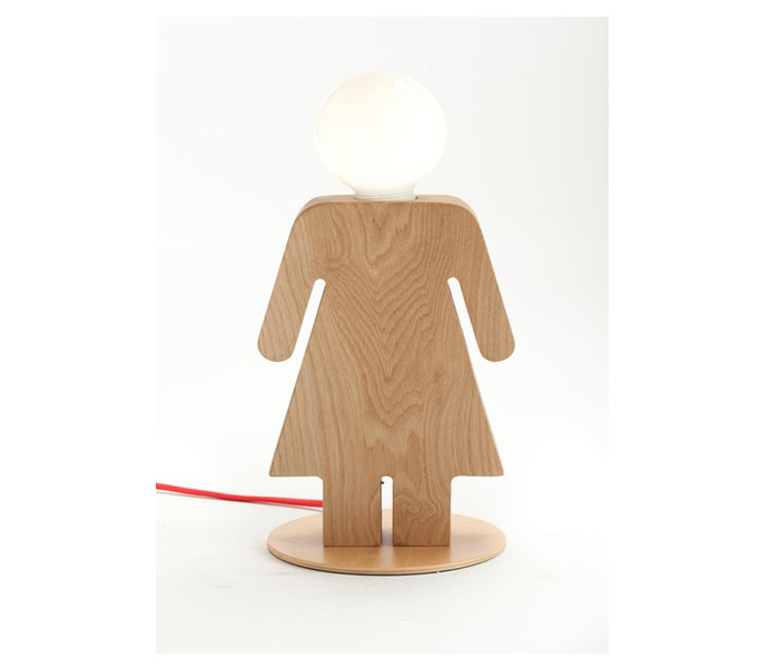 Wooden Girl Desk Lamp with E14