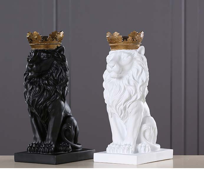 Resin Lion with Gold Crown