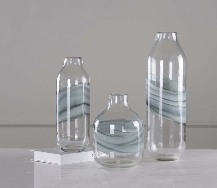 Vase Glass with Irregular Quicksand Lines