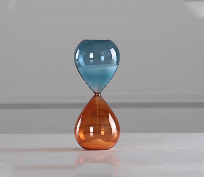 Blue and Orange Glass Hourglass