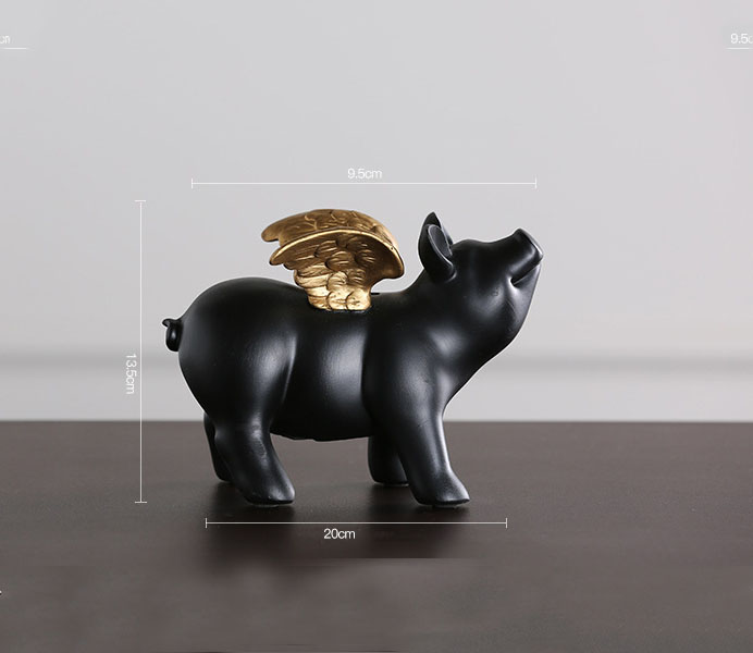 Creative Black Fly Pig Resin Saving Box with Wings