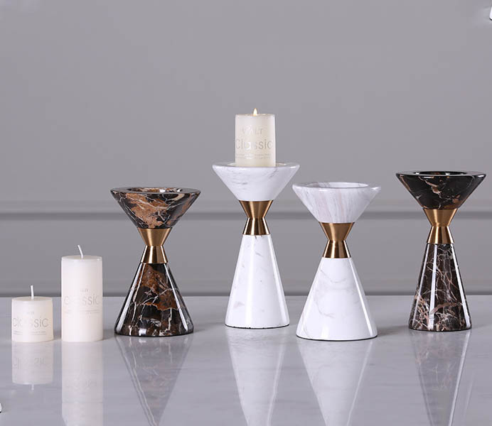 Marble Candlestick with Gold Color Metal