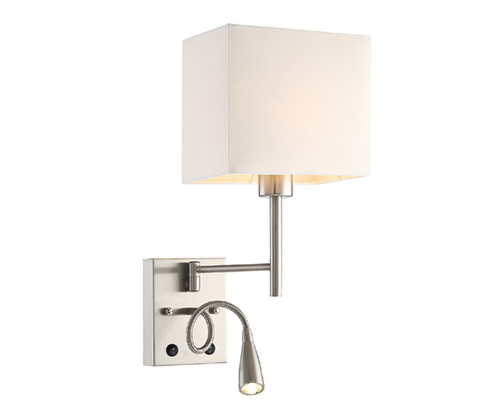 LED 3W 3000K Metal Wall Light with Fabric Lampshade