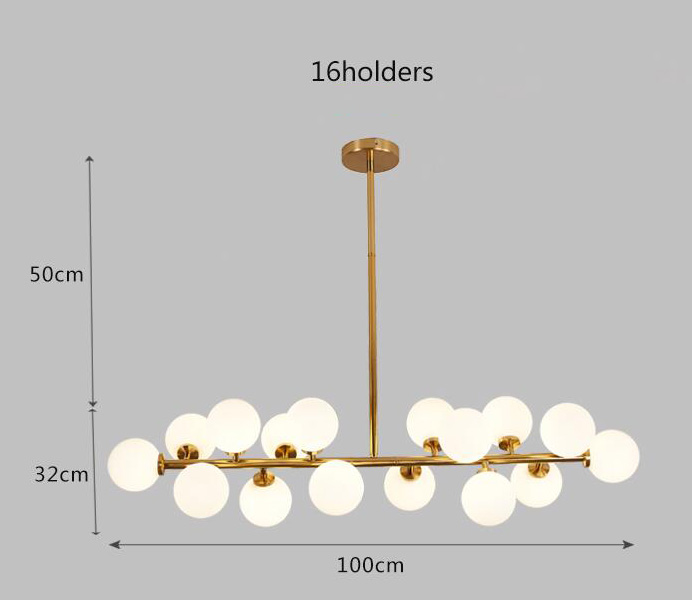 European Style Gold Color Chandelier Light With White Ball Glass