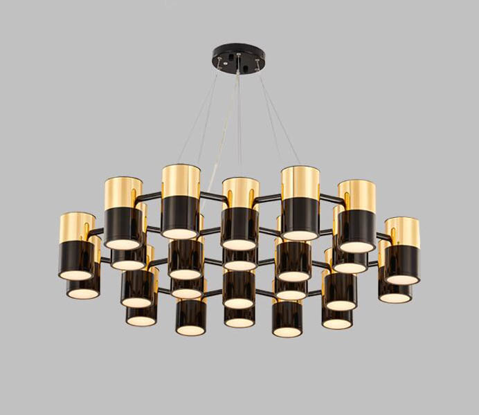 Modern Metal Gold and Black Color Large Chandelier for Lighting Projects