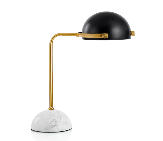 European Style Marble Base Table Lamp with Black Metal Lampshade