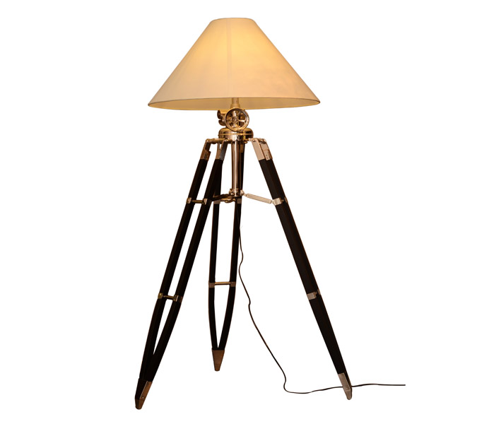 Designers Wooden Base Floor Lamp with Fabric Lampshade