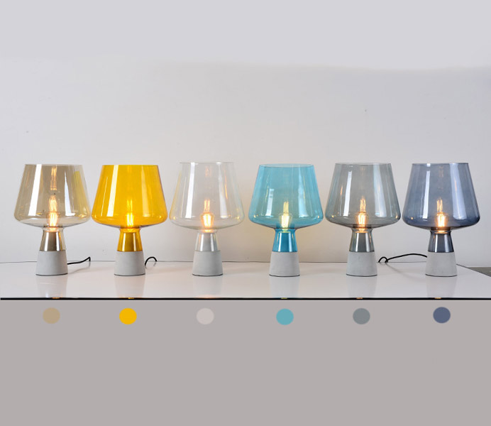 Modern Natural Concrete Table Lamp with Glass Lampshade