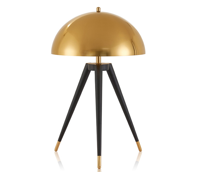 Nordic Post-modern Tripod Table Floor lamp with Gold Color Metal Lampshade