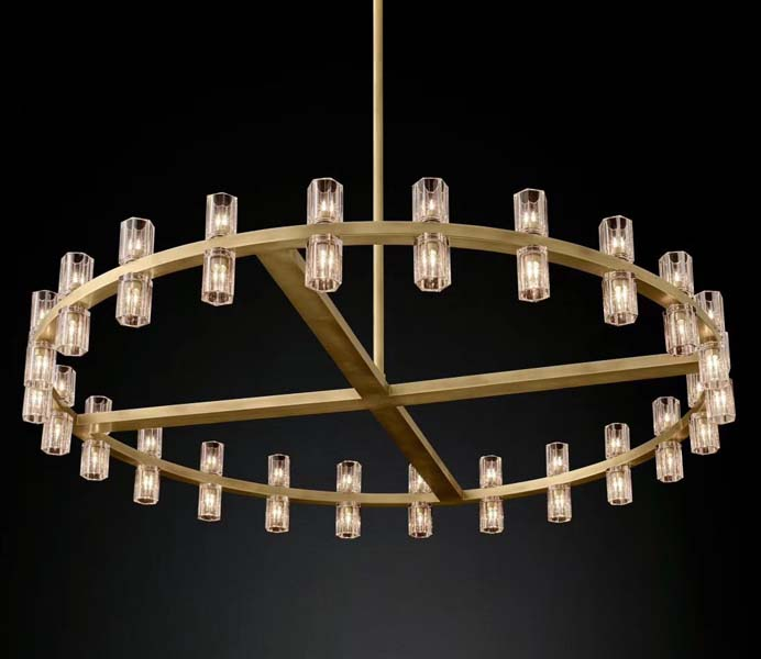 Luxury New Design Gold Iron Circle Chandelier with Crystal Lampshade
