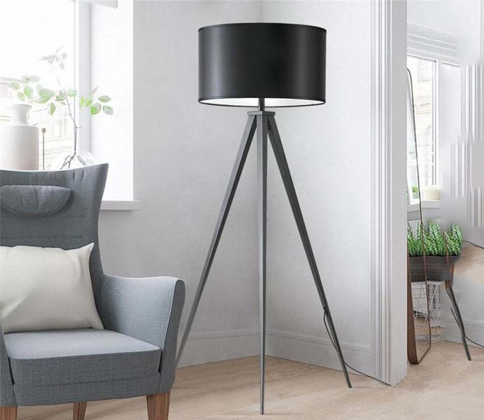 Contemporary Simplicity Black Tripod Floor Lamp Standing Reading Lamp Light with PVC Lampshade