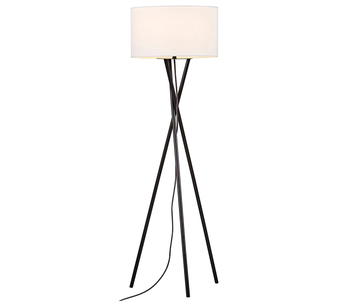 Modern and Minimalist Metal Tripod Floor Lamp with White lampshade