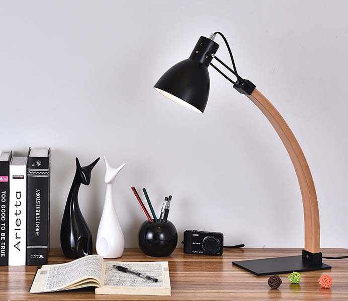 Hot Sale Bent Wooden Table Reading Lamps with Iron Shade