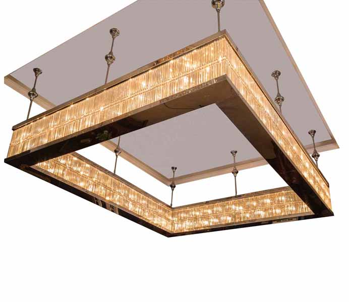 High Quality Crystal Square Chandelier with Stainless Steel