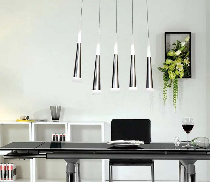 Modern Aluminum Chrome Pendant Light with 3 Lights