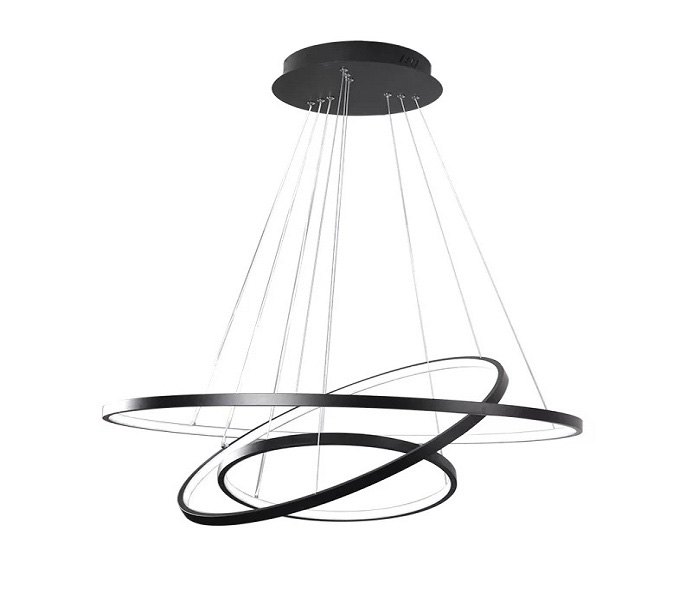 Black Three Rings LED Pendant Light Fixture for Living Room