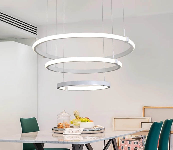 Hot Sale White Three LED Rings Hanging Light Fixture with 110W