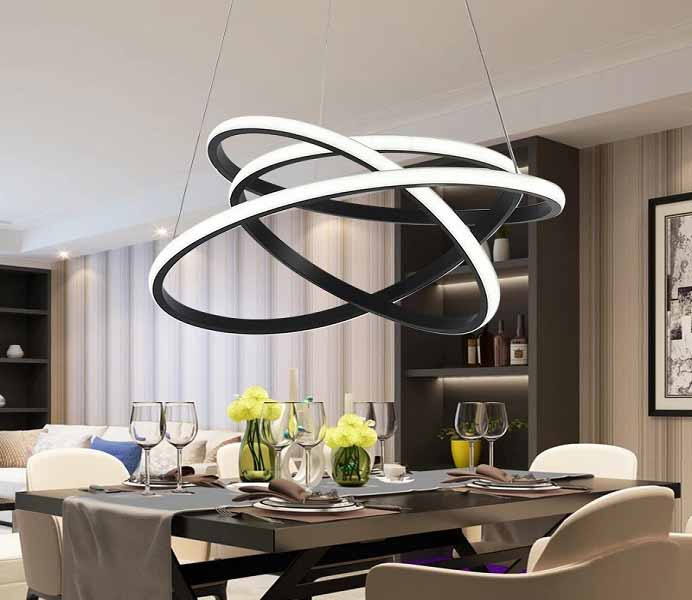 Unique Black Bending LED Pendant Lighting Fixture Chandelier