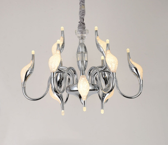 Classic Chrome Aluminum LED Swan Chandeliers for Living Room