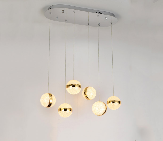 Hot Sale Round Dia 120 Acrylic Ball Pendant Lights with Gold Color