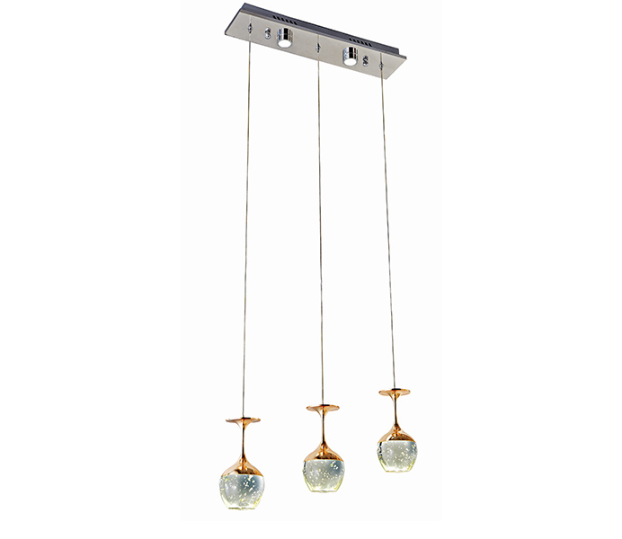 Three Bubble Crystal Wine Cup Hanging Pendants Lamps  with Aluminum Base