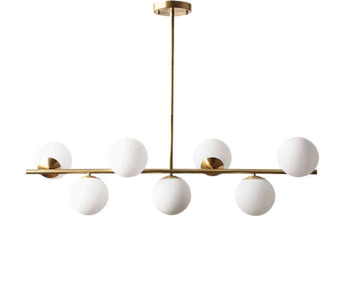 Contemporary Gold Straight Pendant Lamp with 7 Heads Glass Ball Shade