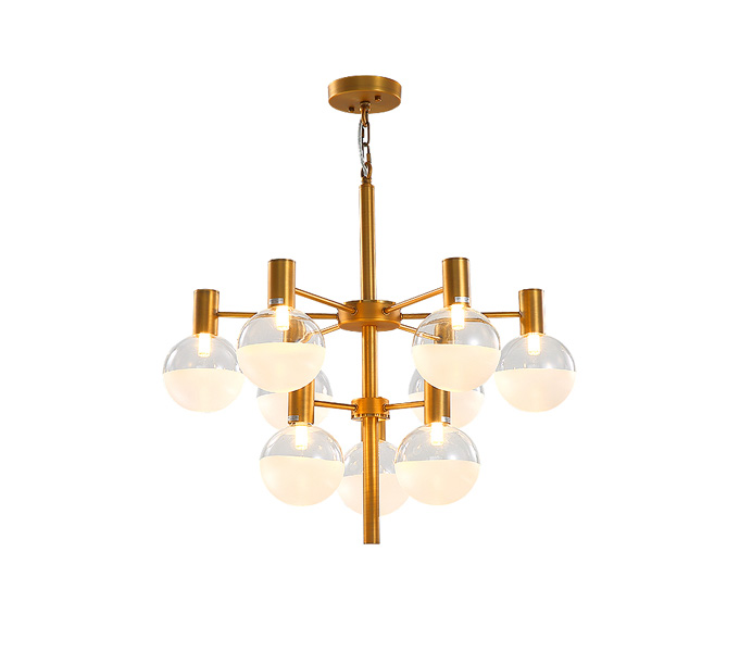 Modern Six Heads Gold Hanging Pendant Lamp with Glass Shade