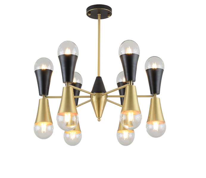 Gold and black Brass Molecule Chandelier with Up and Down Ball Glass Shade
