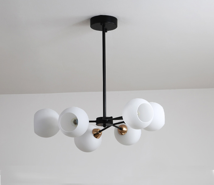 Nordic Postmodern Black Chandelier with White Glass Shade